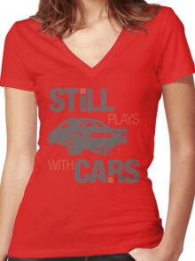 Still plays with cars (4) Women's Fitted V-Neck T-Shirt
