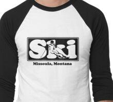 Missoula, Montana SKI Graphic for Skiing your favorite mountain, city or resort town Men's Baseball ¾ T-Shirt