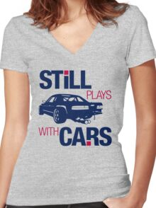 Still plays with cars (6) Women's Fitted V-Neck T-Shirt