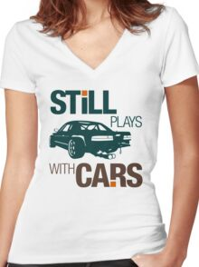 Still plays with cars (7) Women's Fitted V-Neck T-Shirt