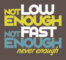 Not low enough, Not fast enough, Never enough (5) Kids Clothes