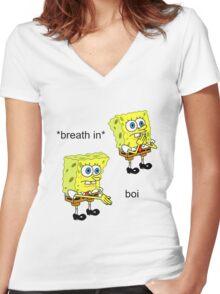 Spongebob Boi Women's Fitted V-Neck T-Shirt