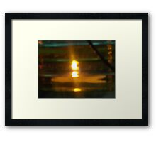 Flame in Green and Yellow Framed Print