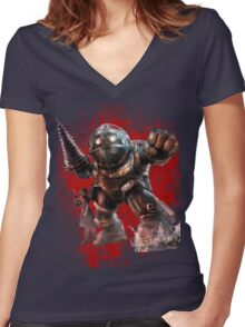 Bioshock Big Daddy And Little Sister Women's Fitted V-Neck T-Shirt