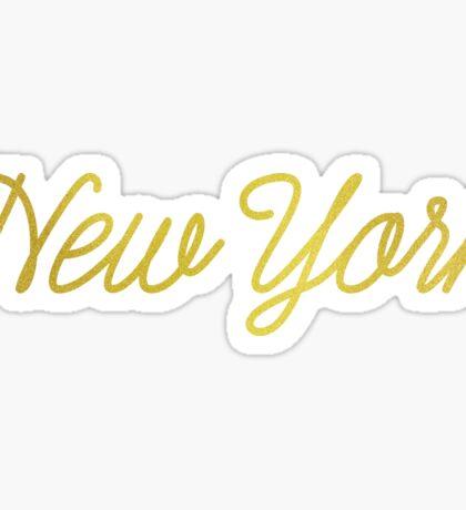 Golden New York Script Sticker