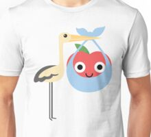 Stork with Baby Apple Emoji Happy and Eager Look Unisex T-Shirt