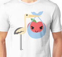 Stork with Baby Apple Emoji Naughty and Cheeky Face Unisex T-Shirt
