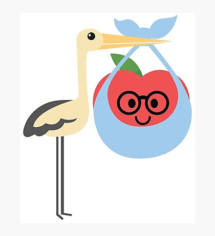 Stork with Baby Apple Emoji Nerd Spectacles Look Photographic Print