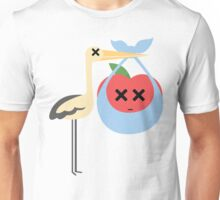 Stork with Baby Apple Emoji Faint and Knock Out Face Unisex T-Shirt