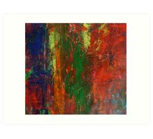 Horizon Red Sunset Landscape Modern Abstract Painting in Acrylic  Art Print