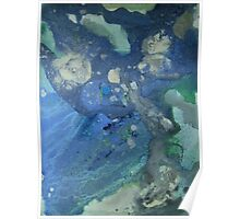 Modern abstract seascape painting Drift in Blue Green and Gray Poster