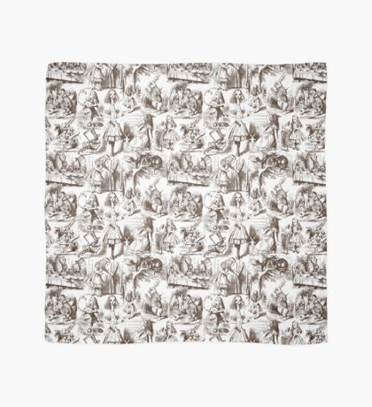 Alice in Wonderland   Toile de Jouy   White and Chocolate Brown Scarf