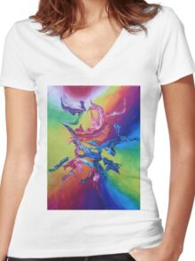 """Hanzi"" original artwork by Laura Tozer Women's Fitted V-Neck T-Shirt"