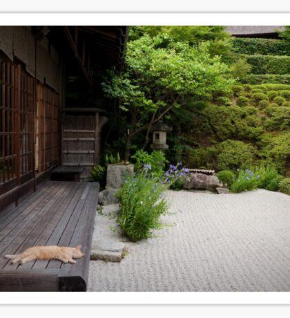 Zen garden cat Sticker