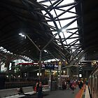 Waiting for the train, Southern Cross Station, Melbourne by Margaret Morgan (Watkins)