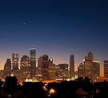 Crescent Moon over the Houston, Texas, Skyline by RobGreebonPhoto