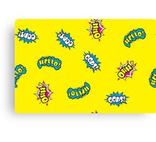 Seamless pattern - Hello,oops,Ohh Comic sound Canvas Print