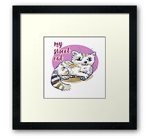 my sweet cat cartoon style illustration Framed Print