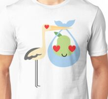 Stork with Baby Pear Emoji Heart and Love Eye Unisex T-Shirt