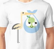 Stork with Baby Pear Emoji Think Hard and Hmm Unisex T-Shirt
