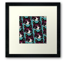 Hipster Glasses Kitty Pattern  Framed Print