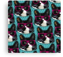 Hipster Glasses Kitty Pattern  Canvas Print