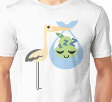 Stork with Baby Pear Emoji Tired Sweet Sleep Dream Unisex T-Shirt