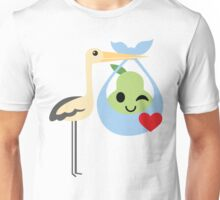 Stork with Baby Pear Emoji Flirt and Blow Kiss Unisex T-Shirt