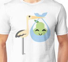 Stork with Baby Pear Emoji Happy with Joy Unisex T-Shirt