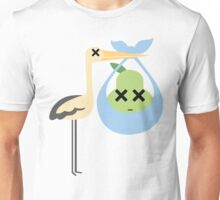 Stork with Baby Pear Emoji Faint and Knock Out Unisex T-Shirt