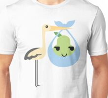 Stork with Baby Pear Emoji Sneaky and Up to Something Unisex T-Shirt