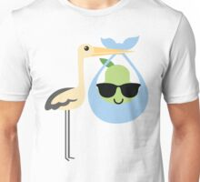 Stork with Baby Pear Emoji Cool Sunglasses Unisex T-Shirt