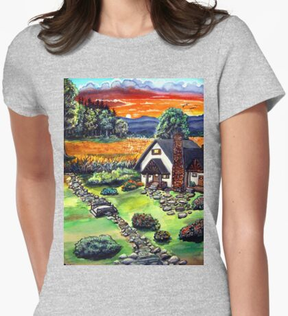 a cottage sunset Womens Fitted T-Shirt