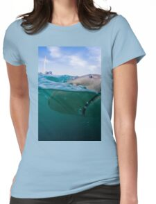 Researchers are tagging a sandbar shark (Carcharhinus plumbeus)  Womens Fitted T-Shirt