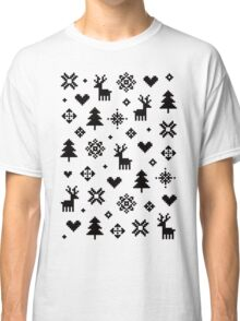 Pixel Pattern - Winter Forest - Black and White Classic T-Shirt