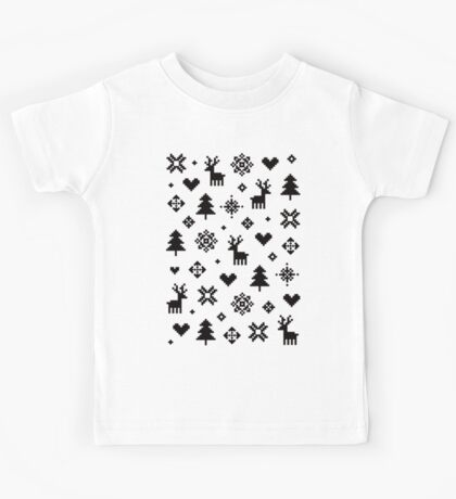 Pixel Pattern - Winter Forest - Black and White Kids Clothes