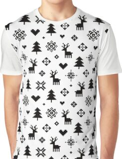 Pixel Pattern - Winter Forest - Black and White Graphic T-Shirt
