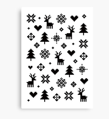 Pixel Pattern - Winter Forest - Black and White Canvas Print