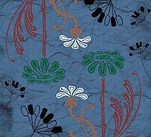 Dark blue flower scribbles by artisticattitud