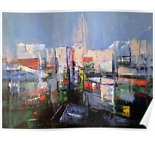Silver City - Painting, Cityscape. Poster