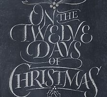 Elegant Chalkboard Lettering '12 Days of Christmas' Calligraphy Chalk Card by 26-Characters