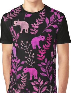 Floral and Elephant  Graphic T-Shirt
