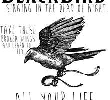 Blackbird The Beatles Minimalist Typography Print by geekchicprints