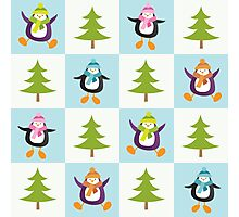 Festive Penguins and Christmas Trees Pattern Photographic Print