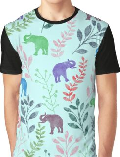 Floral and Elephant III Graphic T-Shirt