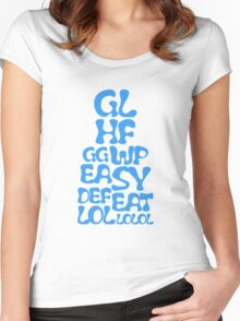 Easy Defeat Troll Blue Text Women's Fitted Scoop T-Shirt