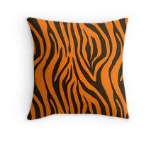 Orange Zebra Animal Print Pattern Throw Pillow