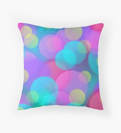 Colorful Purple Blue Tones Bokeh Lights Art Throw Pillow