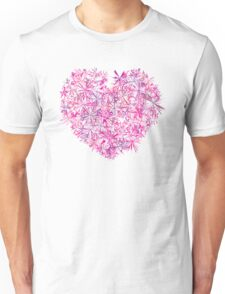 Pink Purple Floral Heart Art Unisex T-Shirt