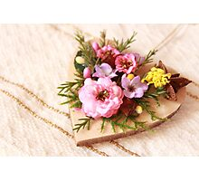 Wooden heart with artificial pink flowers Photographic Print